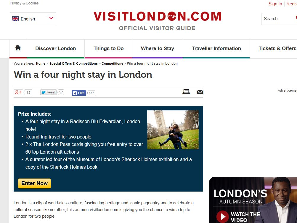 VisitLondon.com Win a four night stay in London Sweepstakes