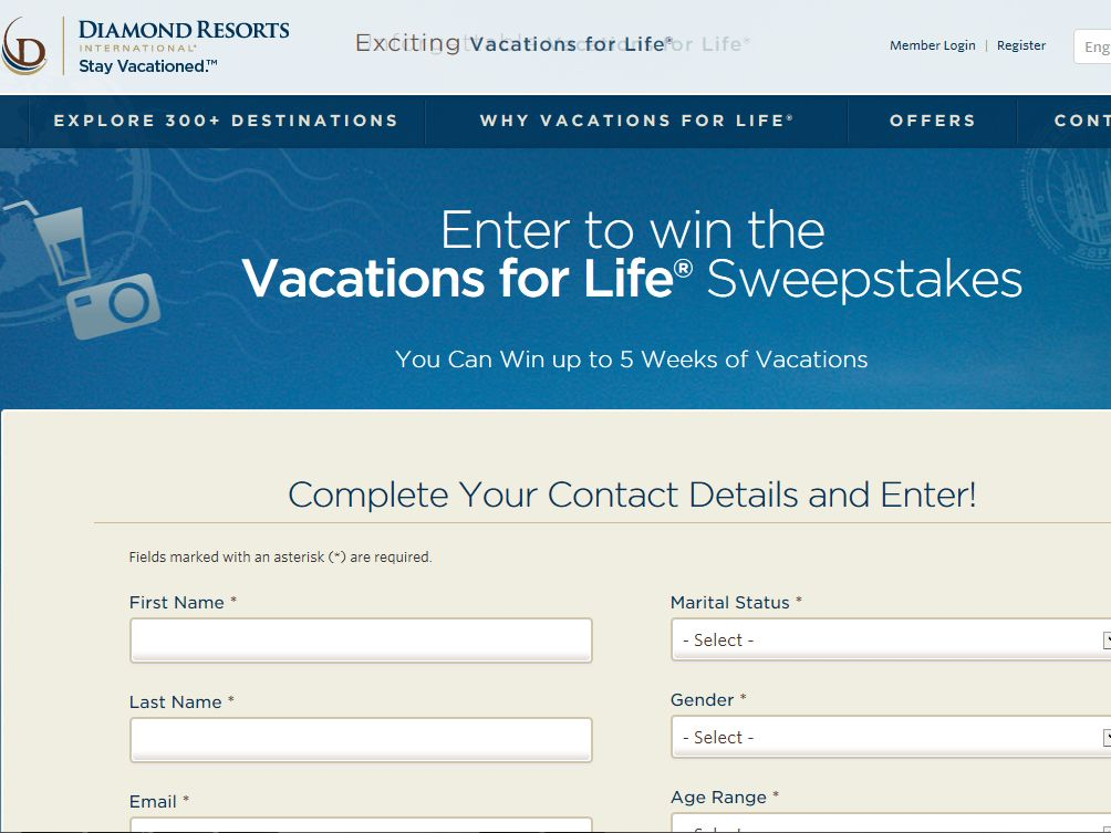 The Diamond Resorts Vacations for Life Sweepstakes