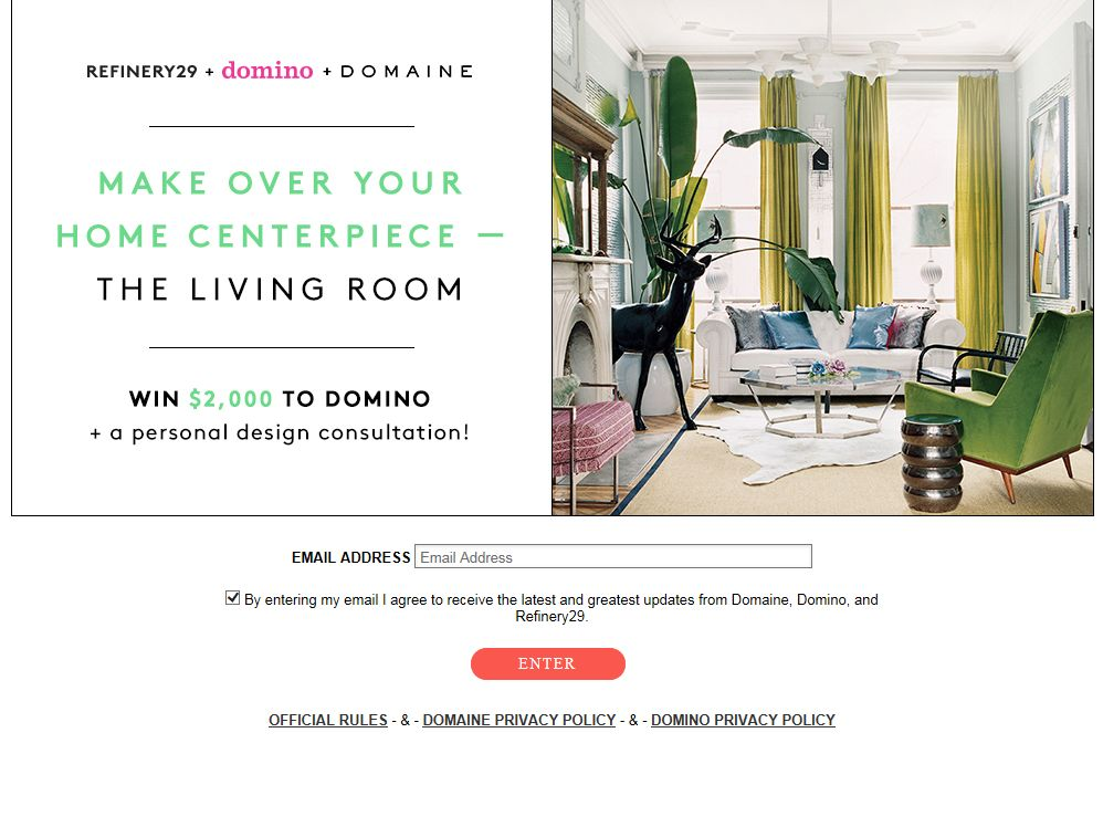 Refinery29 + Domaine + Domino Sweepstakes