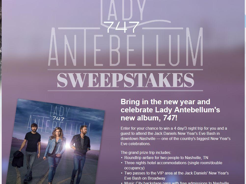 "Lady Antebellum's ""747"" New Year's Eve Celebration Sweepstakes"