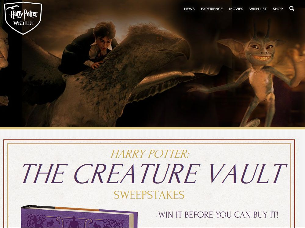Harry Potter Creature Vault Sweepstakes