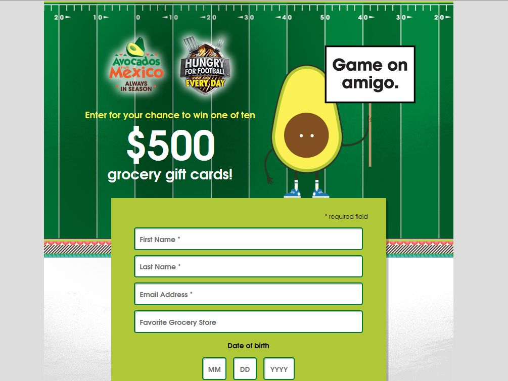 Avocados from Mexico Hungry for Football Sweepstakes