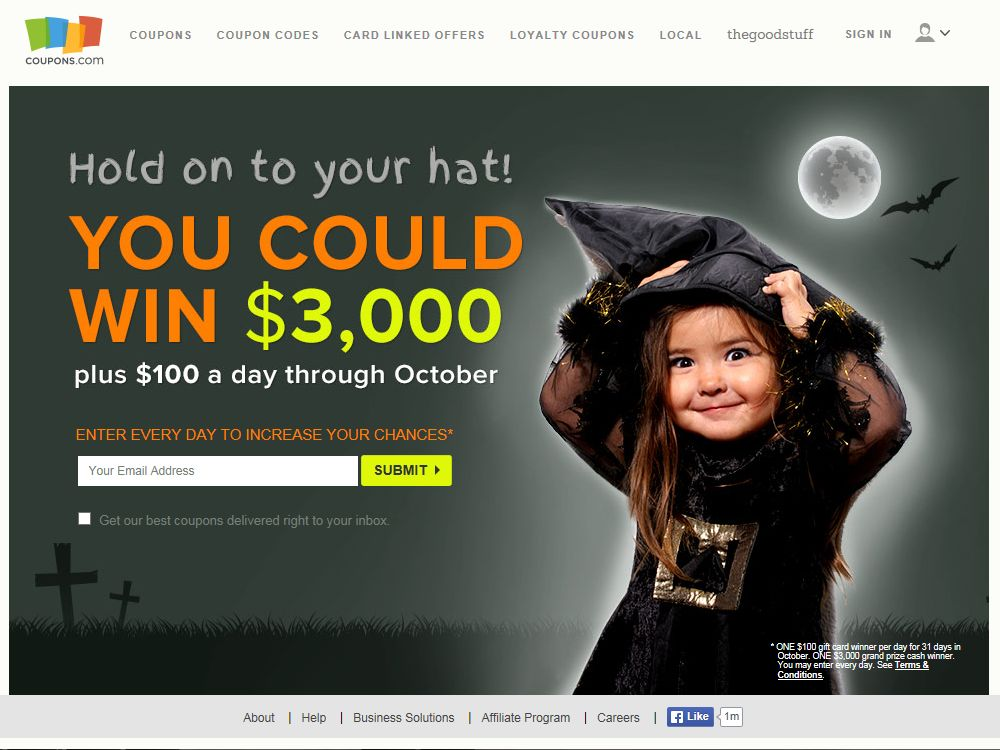 Coupons.com Cash Creepstakes Sweepstakes