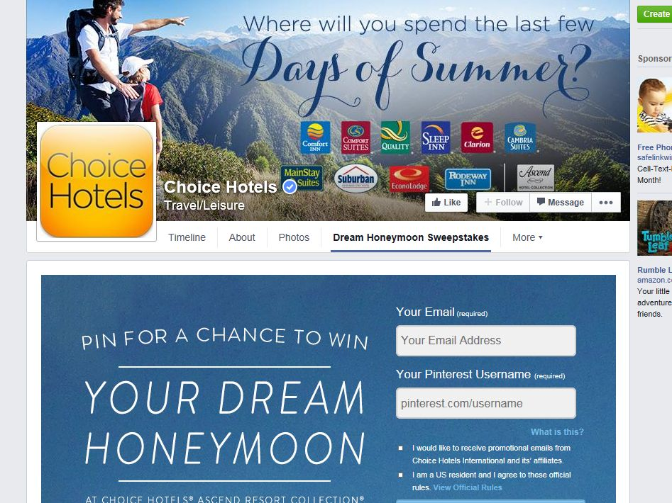 "Choice Hotels Ascend Hotel Collection ""Dream Honeymoon"" Pinterest Sweepstakes"
