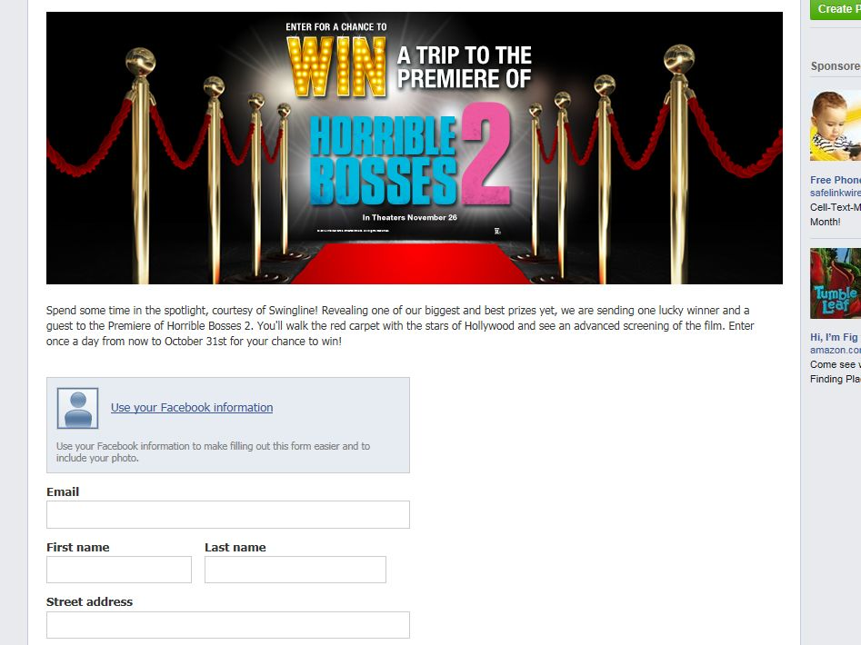 ACCO HORRIBLE BOSSES 2 Sweepstakes