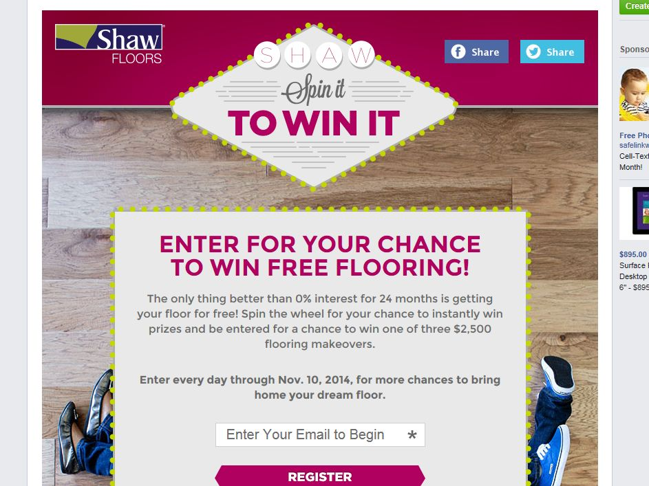 Shaw Floors Floor Now Pay Later Sweepstakes