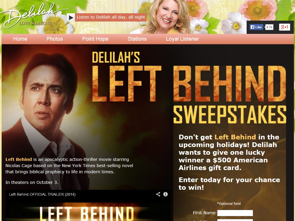 Delilah's Left Behind Sweepstakes
