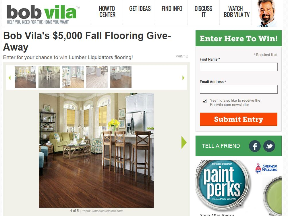 Bob Vila's $5,000 Fall Flooring Give-Away