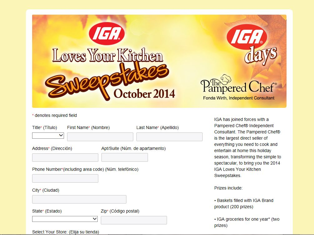 "2014 ""IGA Loves Your Kitchen"" Sweepstakes"
