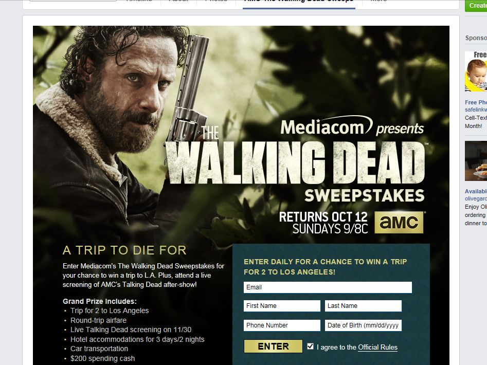 "Mediacom Presents ""The Walking Dead"" Sweepstakes"
