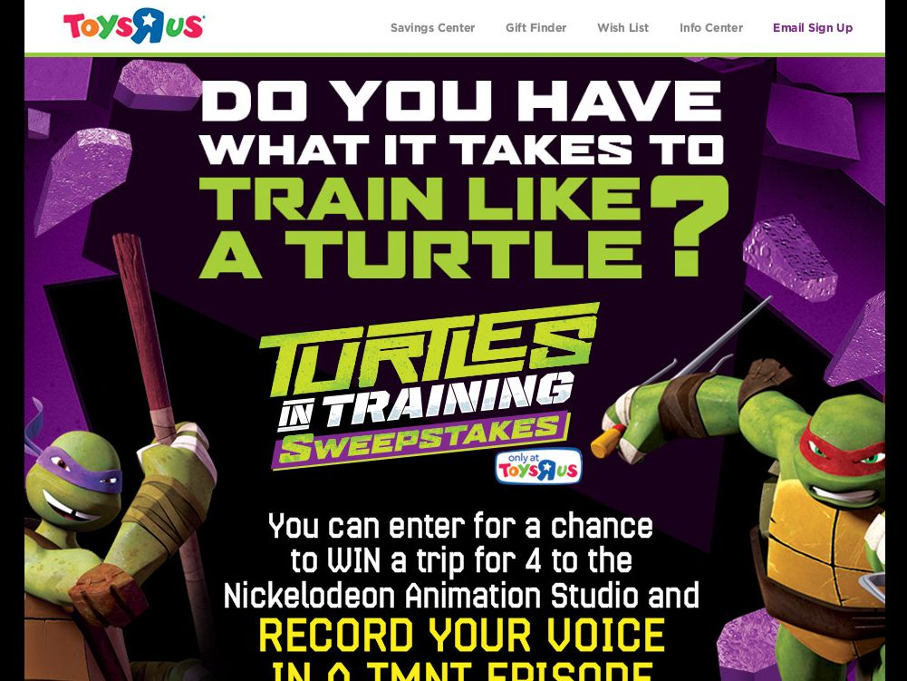 Toys'R'Us Turtles in Training Sweepstakes
