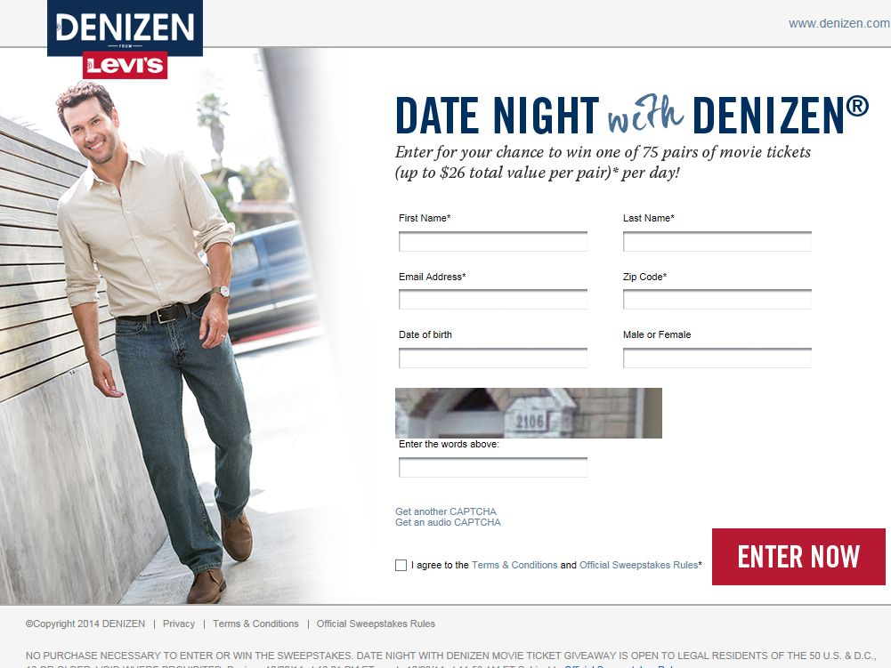 Levi's Date Night with Denizen Instant Win Game