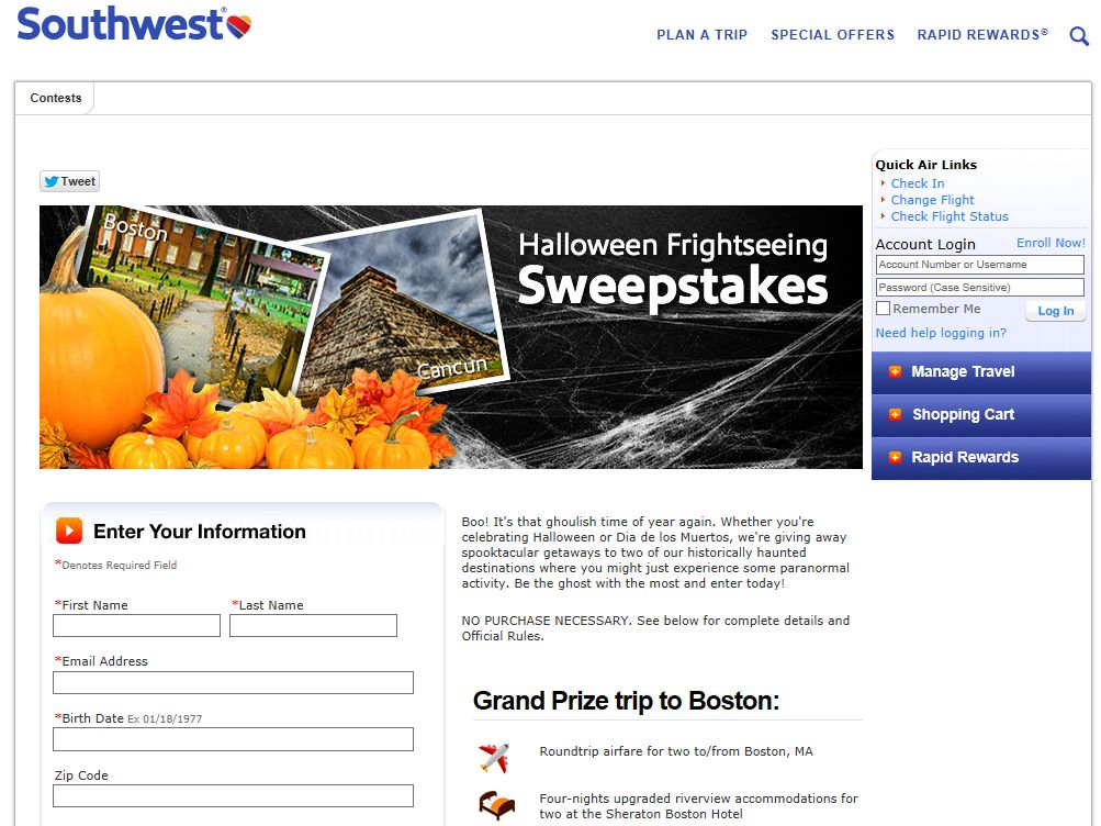 Southwest Airlines Halloween Frightseeing Sweepstakes