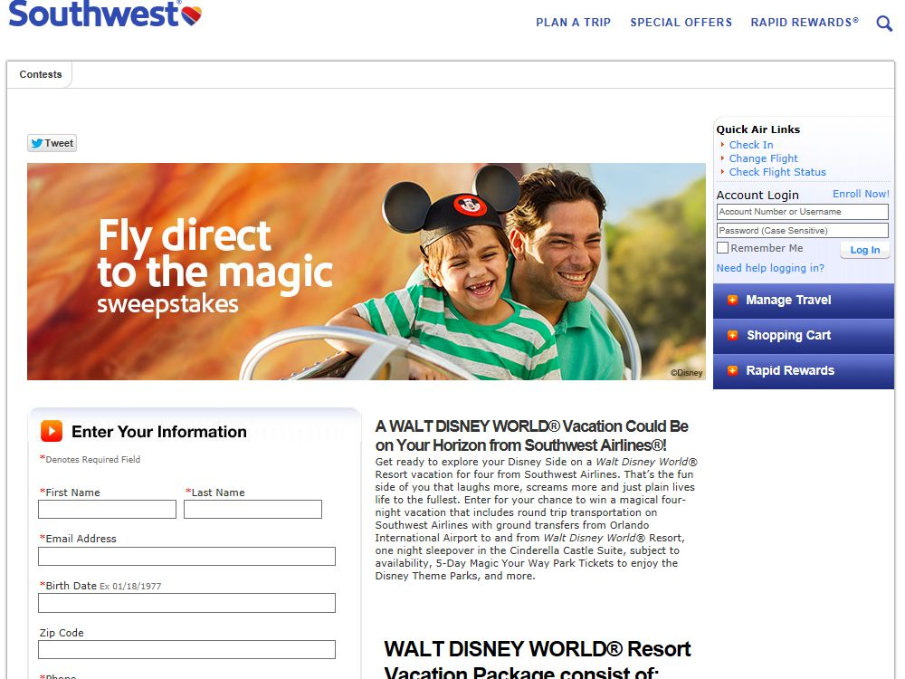 Southwest Airlines' Fly Direct to the Magic Sweepstakes