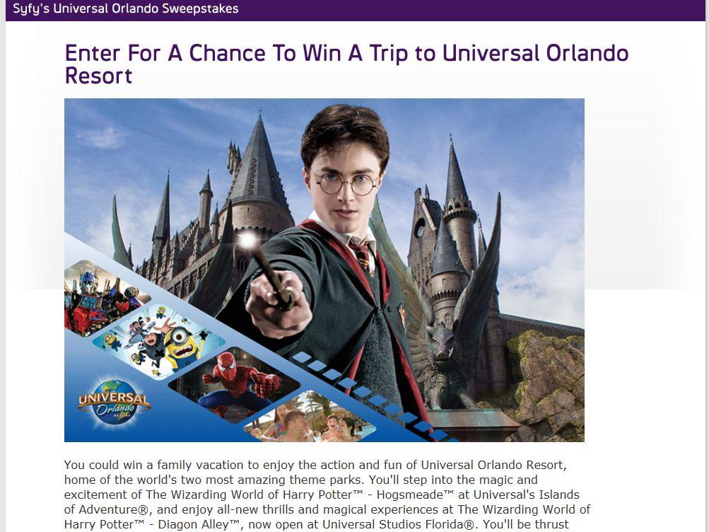 Syfy's Universal Orlando Sweepstakes