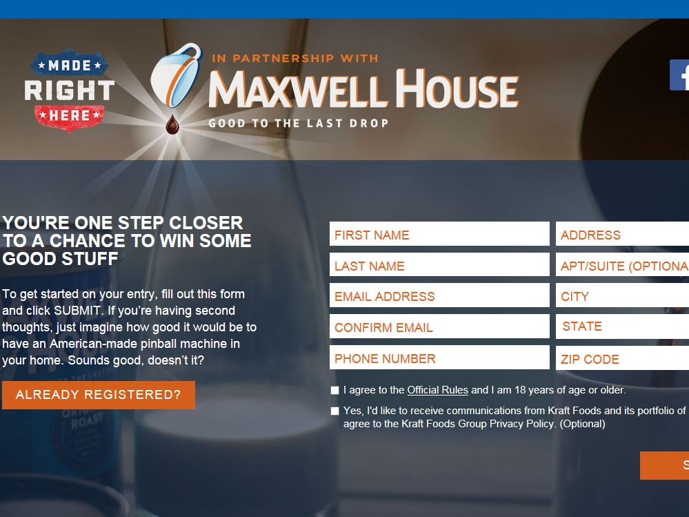 MAXWELL HOUSE Made Right Here Sweepstakes