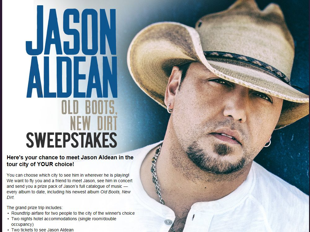 "Jason Aldean ""Old Boots, New Dirt"" Sweepstakes"