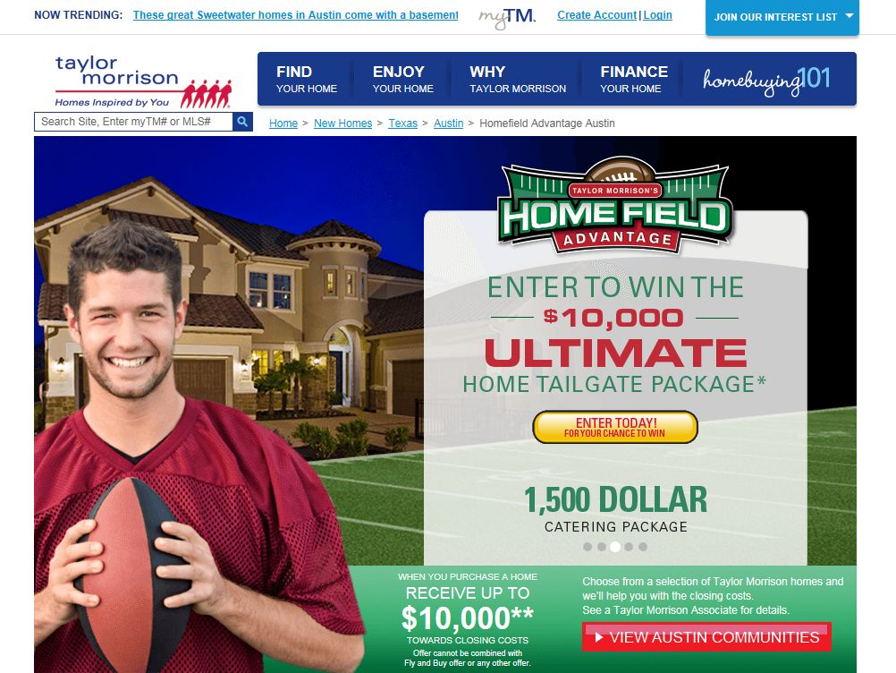 Taylor Morrison's Home Field Advantage Sweepstakes