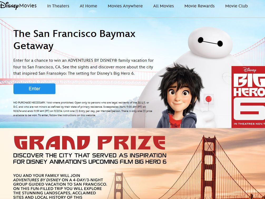 Disney San Francisco BAYMAX Getaway Sweepstakes