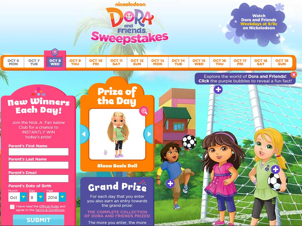 Nick Jr. Dora and Friends Sweepstakes
