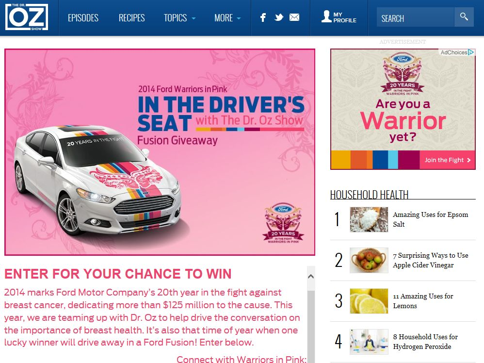 The Ford Warriors in Pink – In the Driver's Seat with the Dr. Oz Show Fusion Giveaway