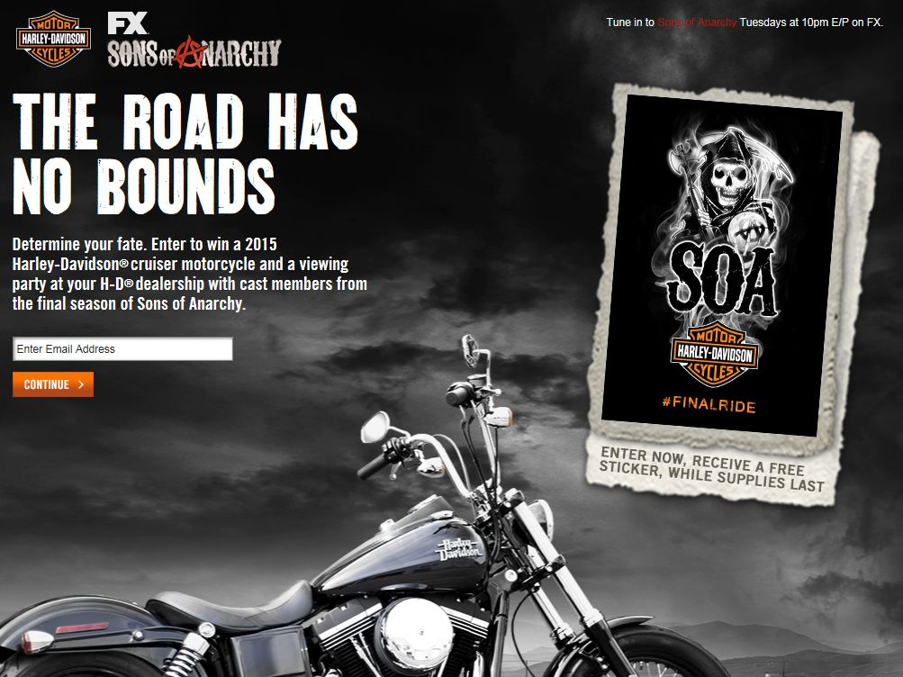 harley davidson sweepstakes harley davidson and sons of anarchy bike sweepstakes 8337