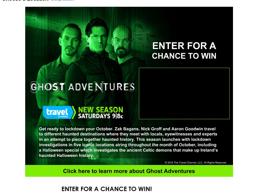 Ghost Adventures Sweepstakes