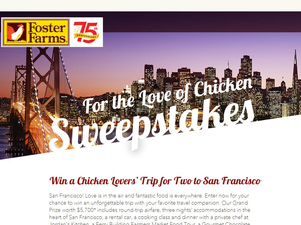 Foster Farms For the Love of Chicken Sweepstakes – Select States