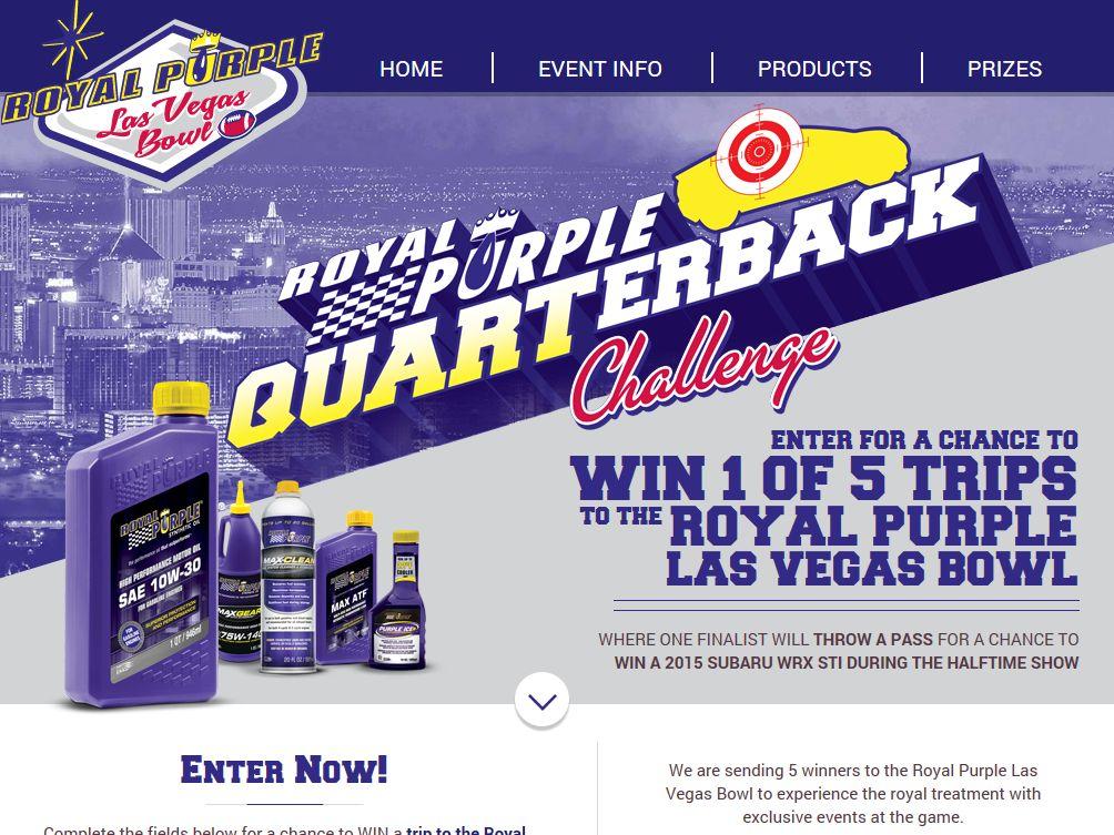 Royal Purple Las Vegas Bowl Quarterback Challenge Sweepstakes