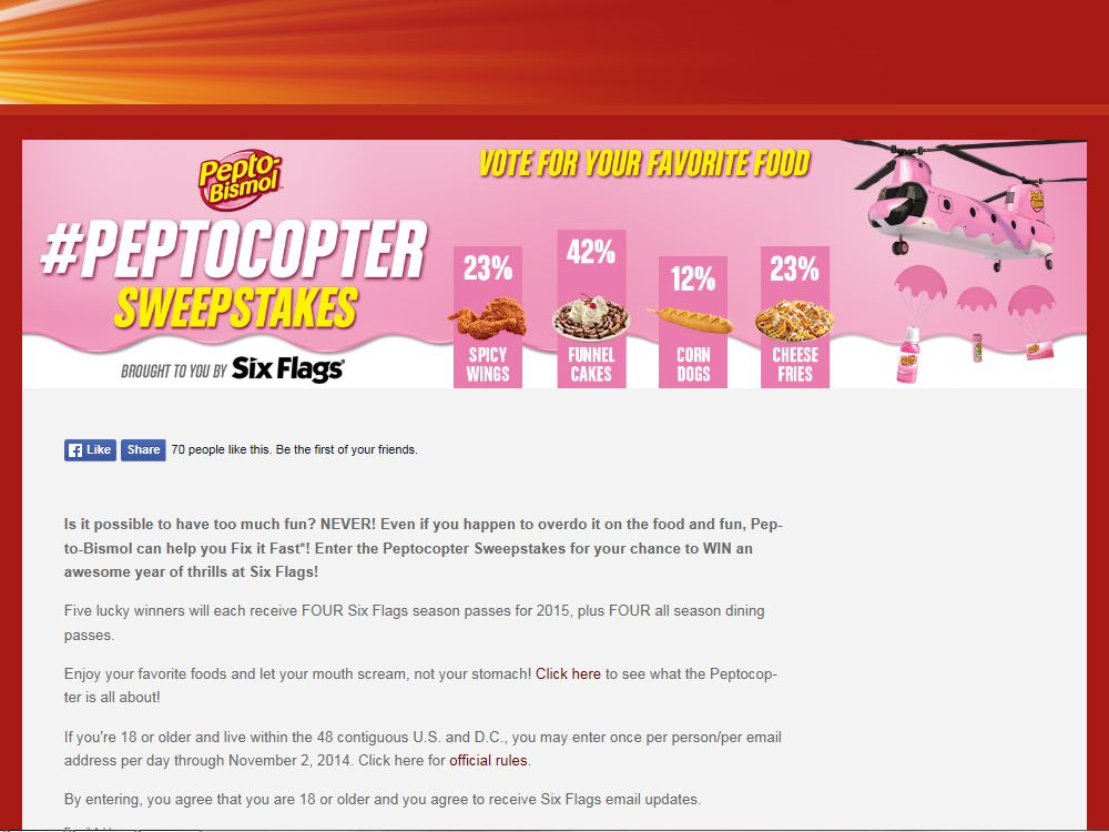 The Peptocopter Sweepstakes