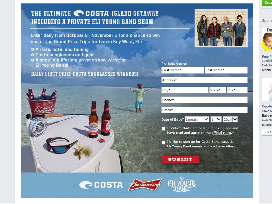 Budweiser Costa Ultimate Island Experience Sweepstakes