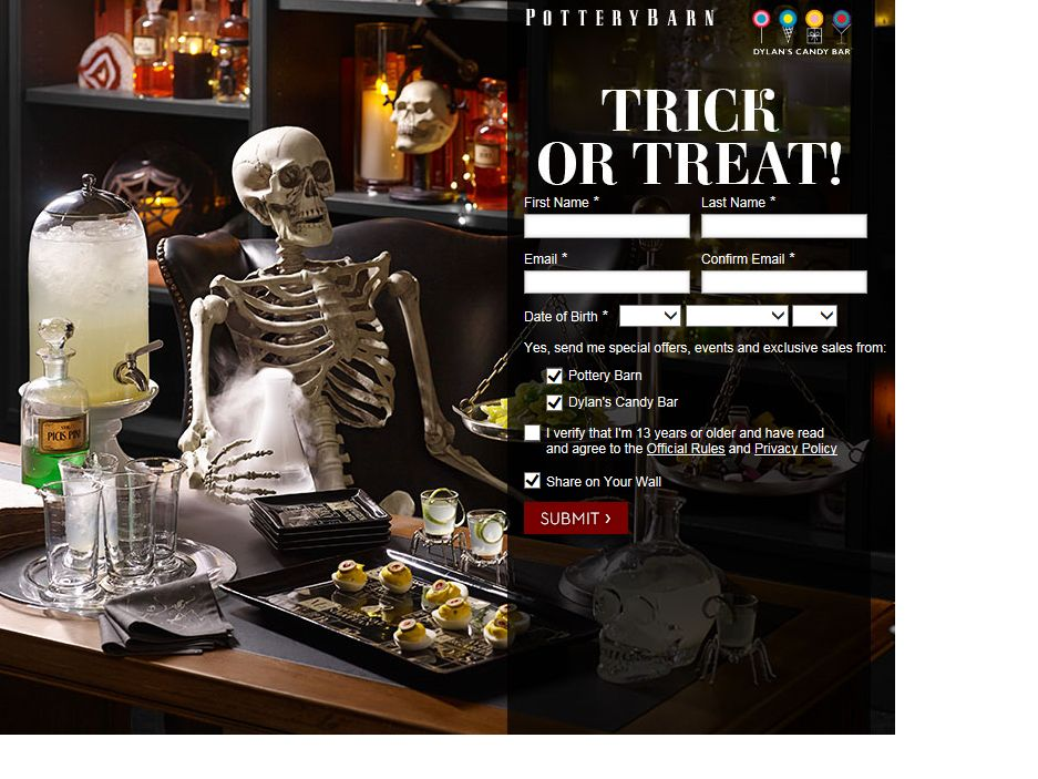 Pottery Barn Trick or Treat Sweepstakes