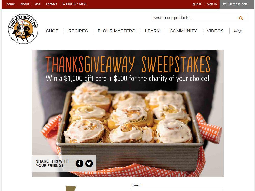 King Arthur Flour Thanksgiving Sweepstakes