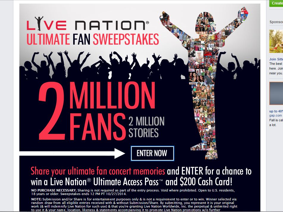 The Live Nation Ultimate Fan Sweepstakes