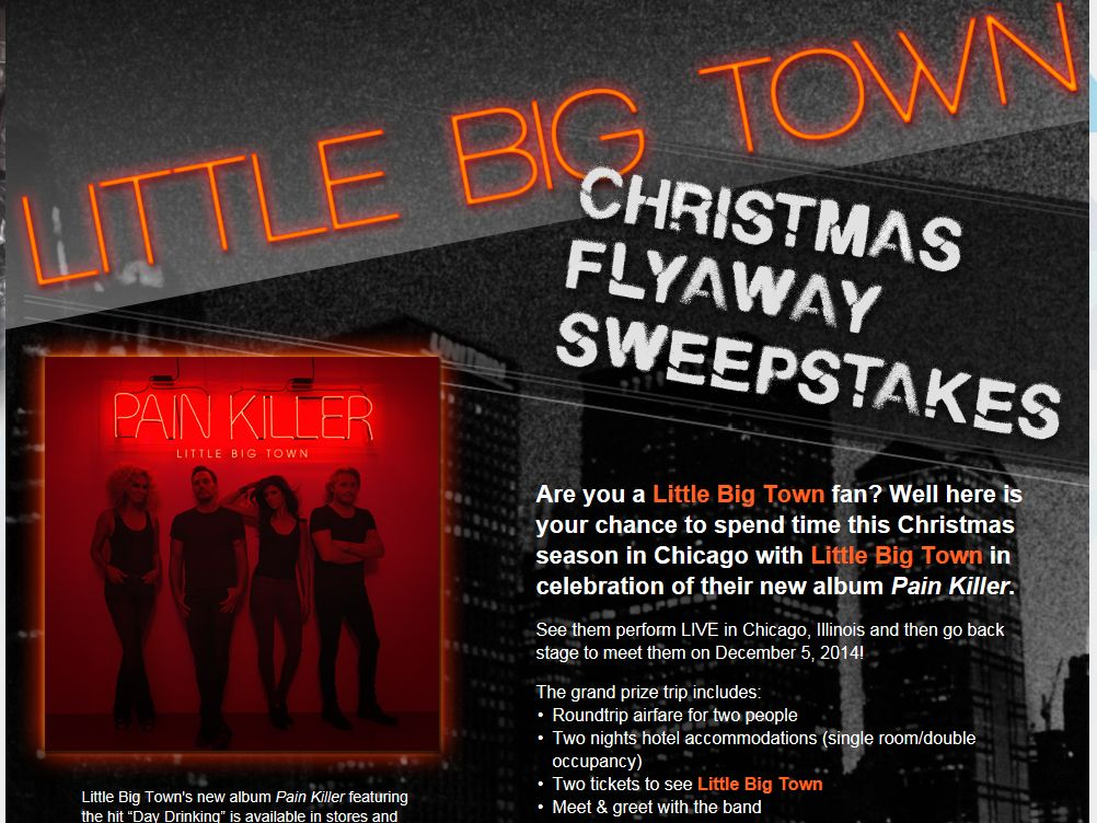 The Little Big Town Christmas Flyaway Sweepstakes