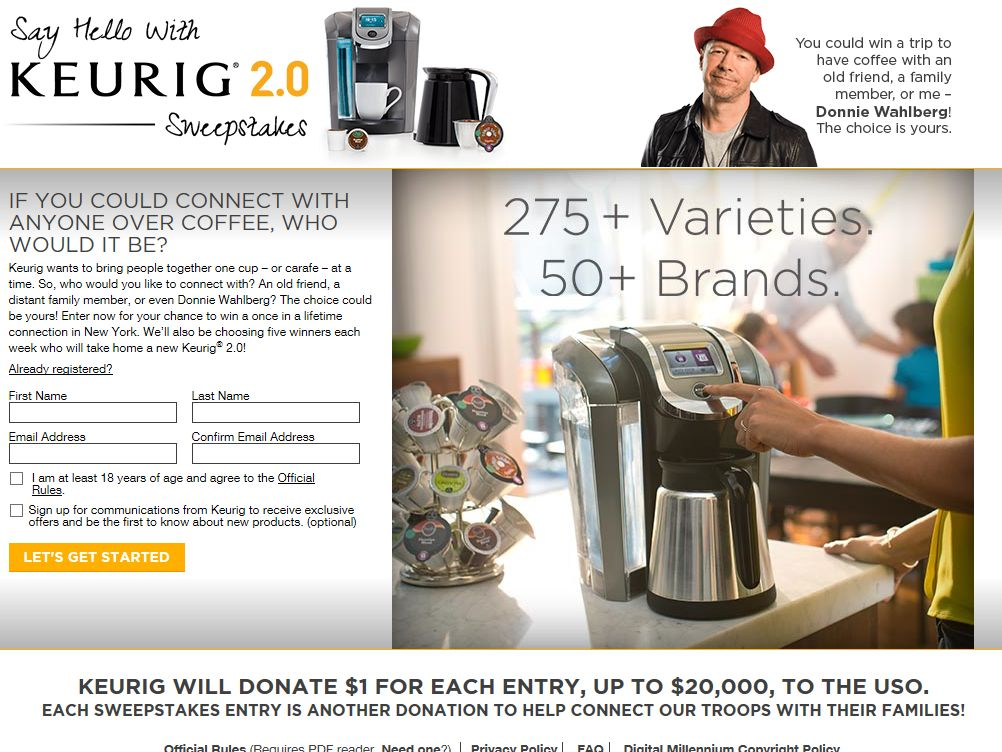 Keurig 2.0 Photo Upload Sweepstakes