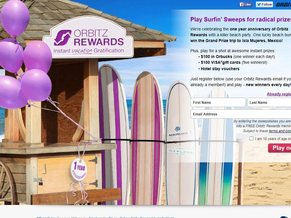 Orbitz Rewards October Instant Win Sweepstakes