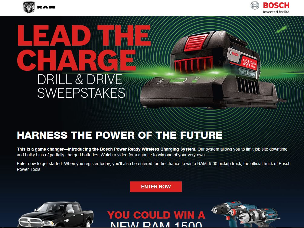 Bosch Lead the Charge Drill & Drive Sweepstakes