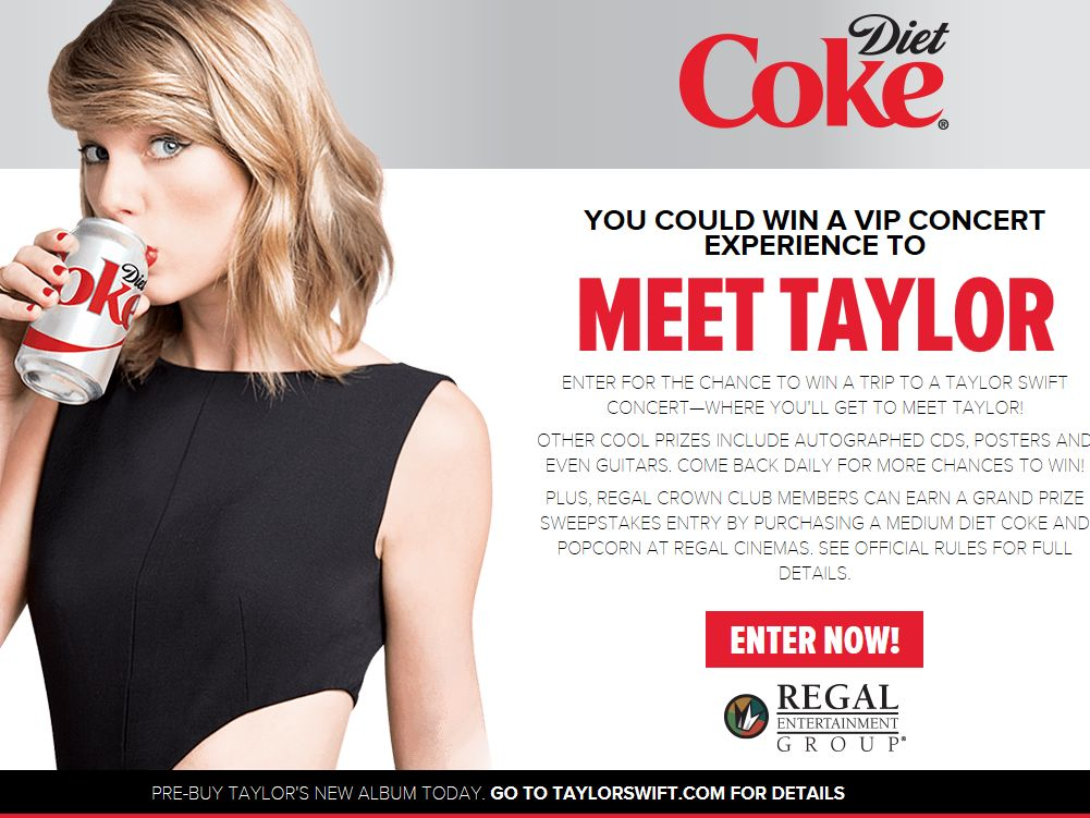 The Diet Coke & Regal Cinemas VIP Concert Experience Sweepstakes