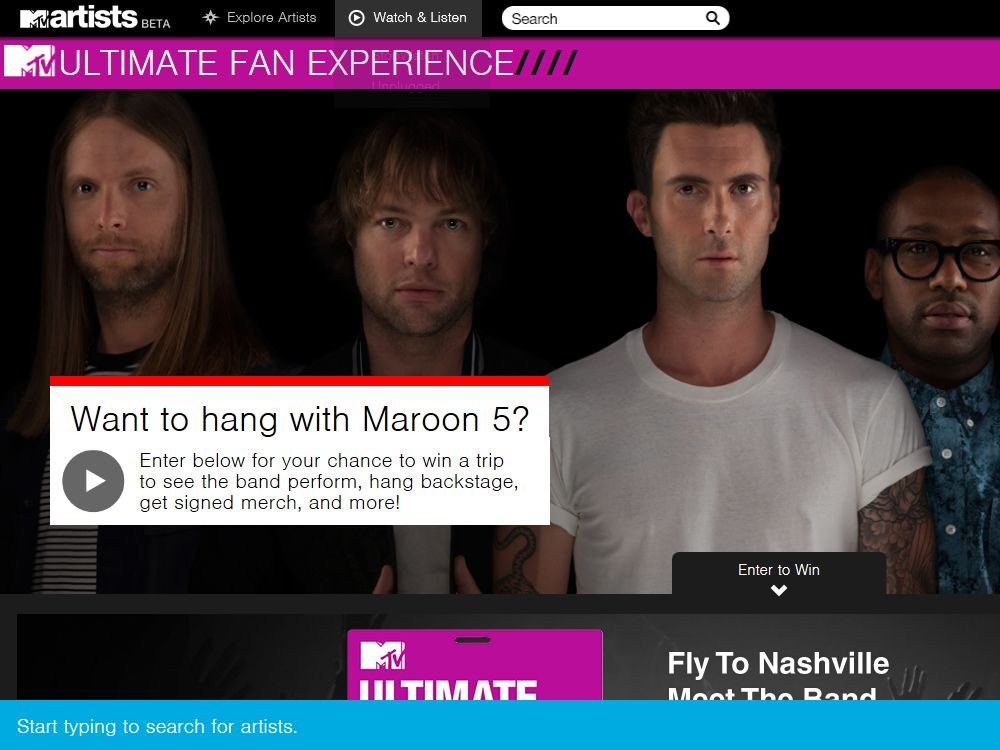 MTV Maroon 5 Ultimate Fan Sweepstakes