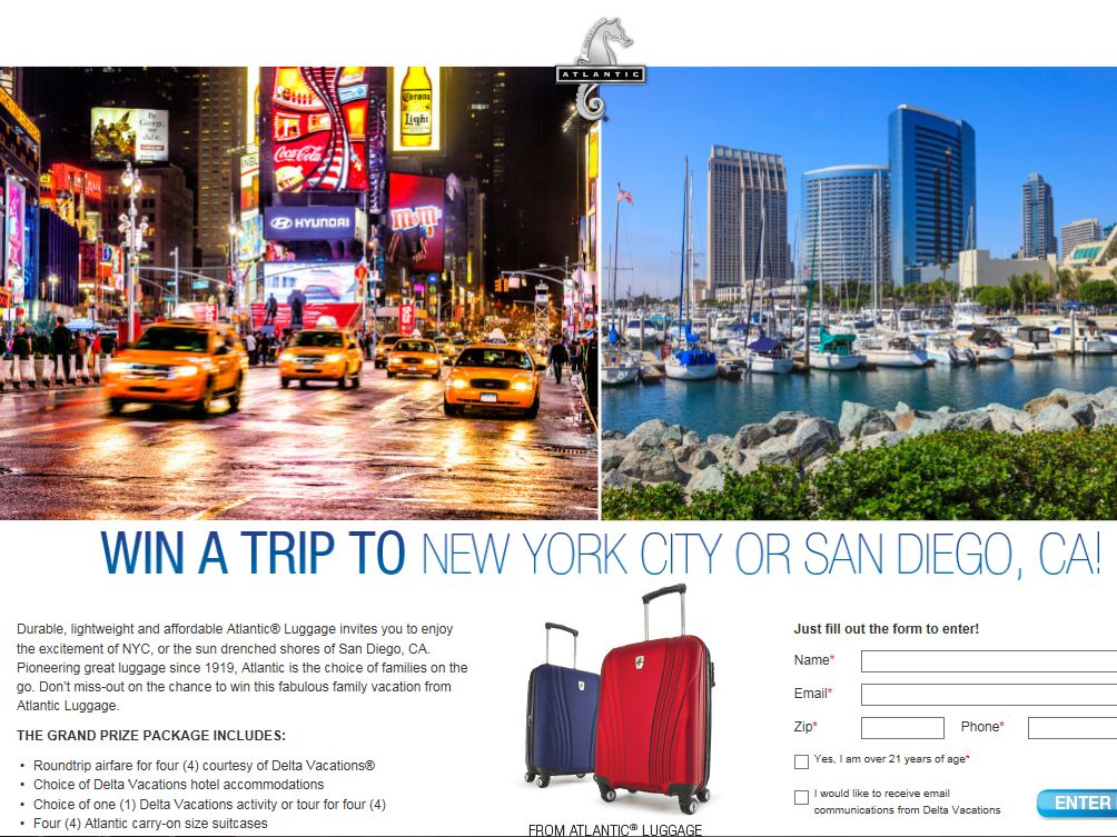Travelpro Trip to New York City or San Diego, CA Sweepstakes