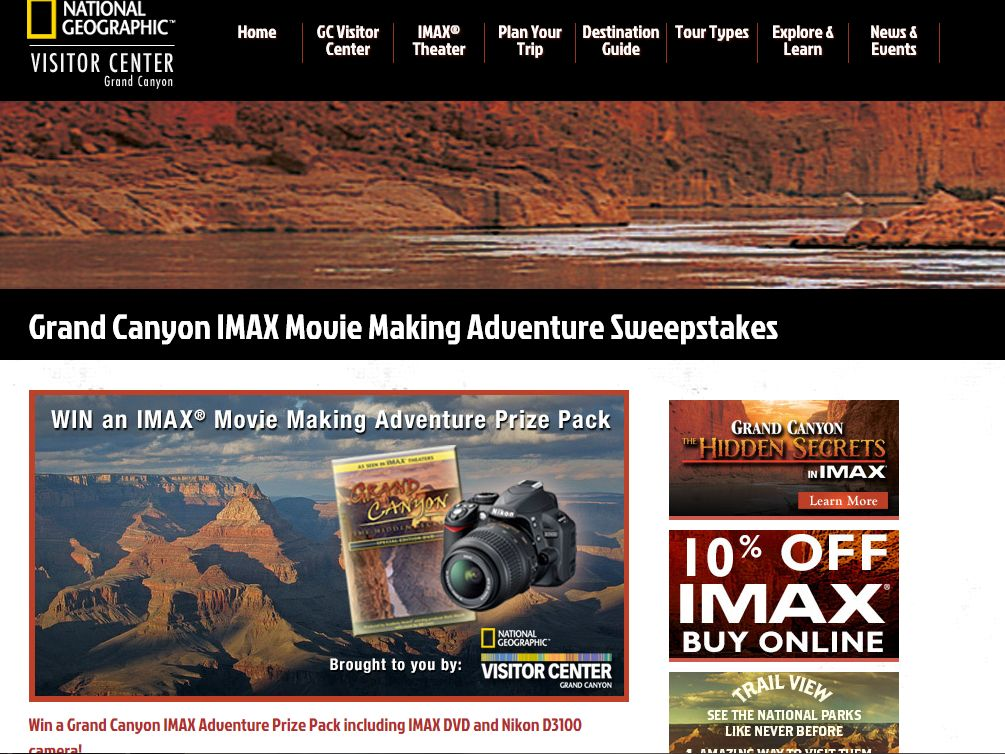 National Geographic Visitor Center IMAX prize Sweepstakes
