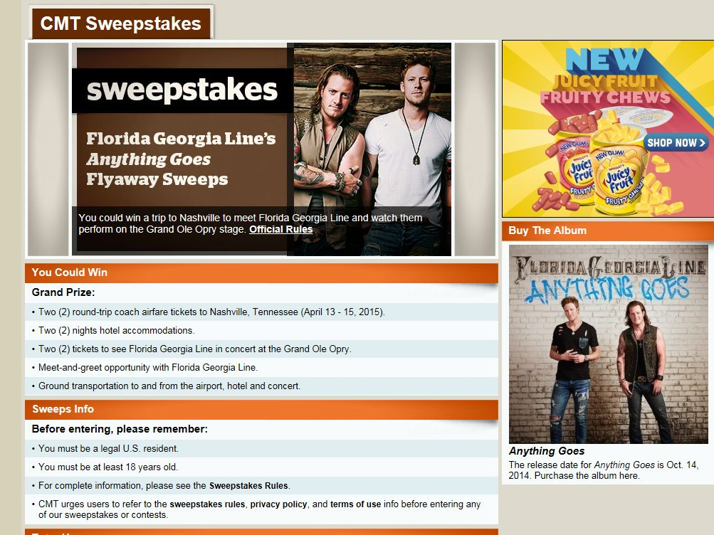 """CMT Florida Georgia Line's """"Anything Goes"""" Flyaway Sweepstakes"""