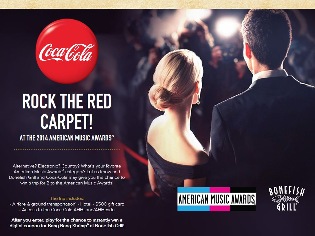 Rock the Red Carpet with Coca-Cola and Bonefish Grill Sweepstakes