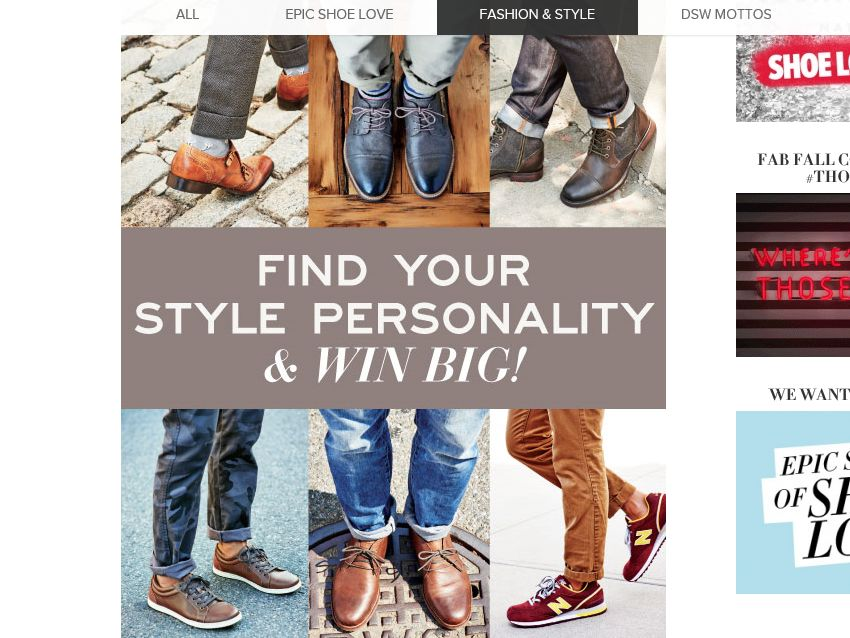 DSW Shoe Warehouse Find Your Style Personality Promotion