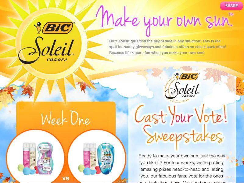 "BIC SOLEIL ""Cast Your Vote"" Sweepstakes"