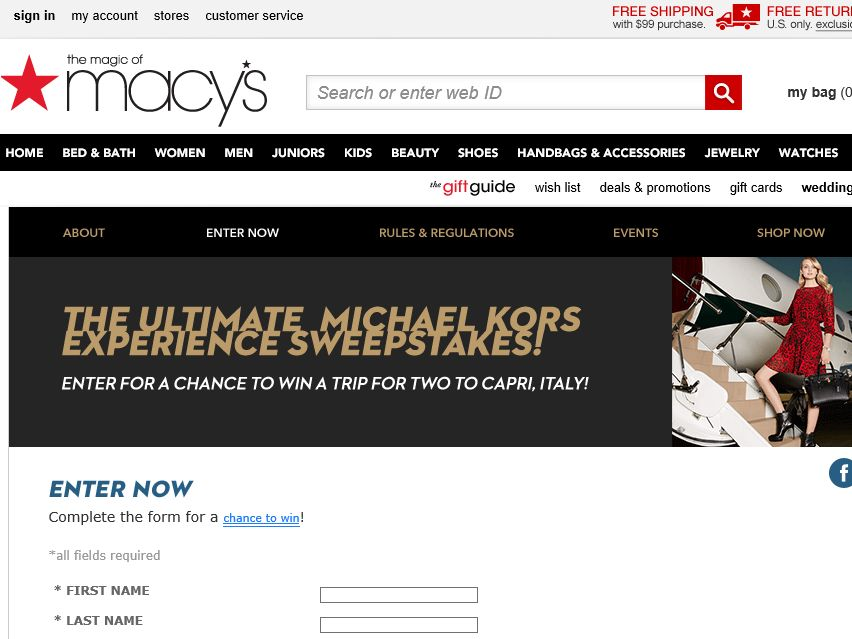 "Macy's ""Kors Week"" Sweepstakes"