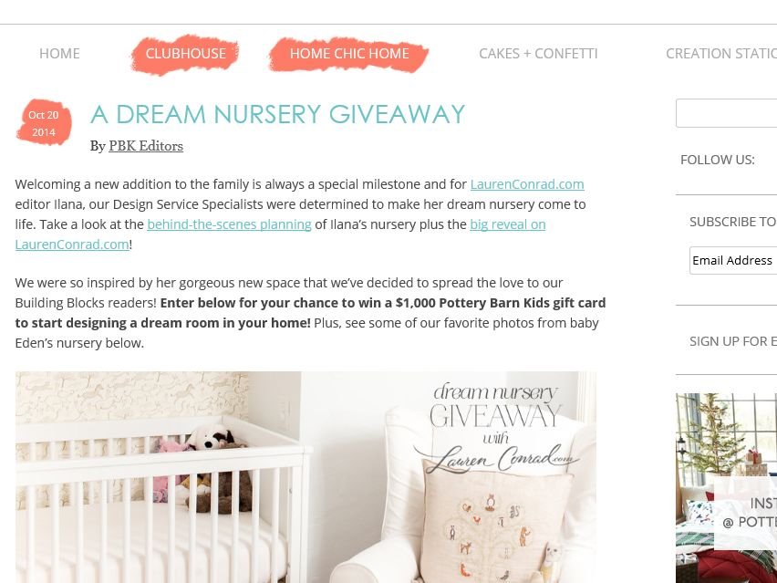 Pottery Barn Kids Dream Nursery Giveaway Sweepstakes