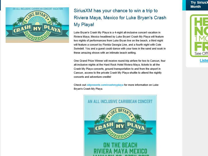 Luke Bryan's Crash My Playa SiriusXM Sweepstakes