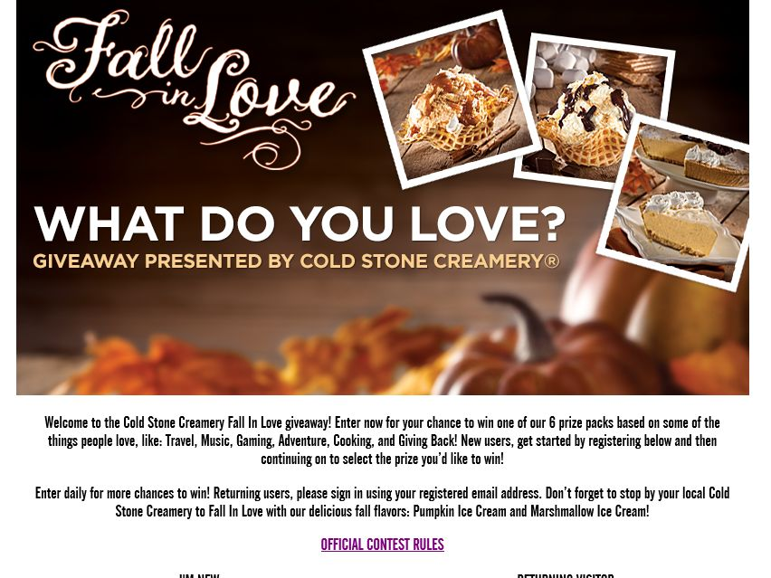 The Cold Stone Creamery FALL in Love Contest